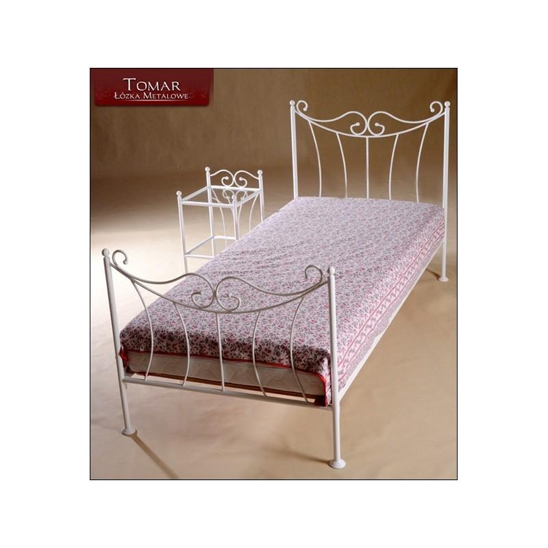 Kornelia Biała 90x200 łóżko Metalowe Kute Jednoosobowe Młodzieżowe