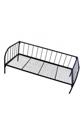 Sofa Prosta CZARNA 90x200 METALOWA SKANDYNAWSKI LOFT POJEDYNCZA